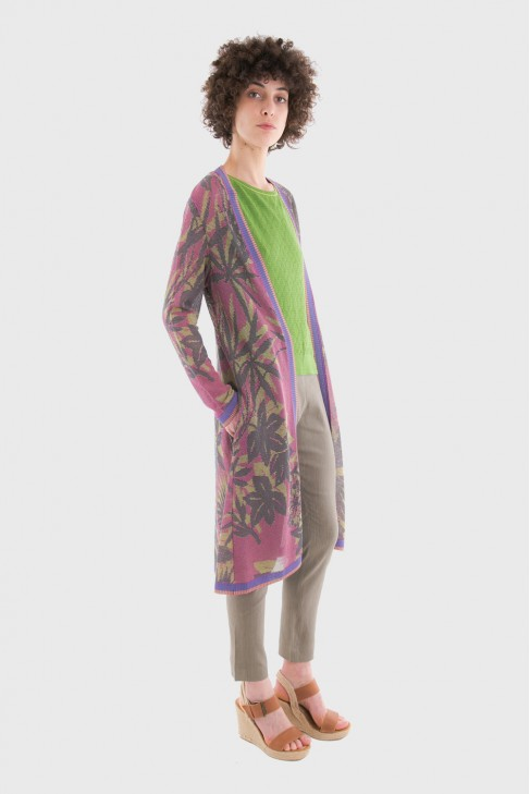 Long open cardigan JUNGLE Pink
