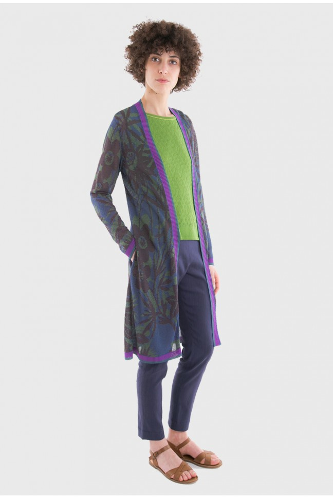 Long open cardigan JUNGLE Ink