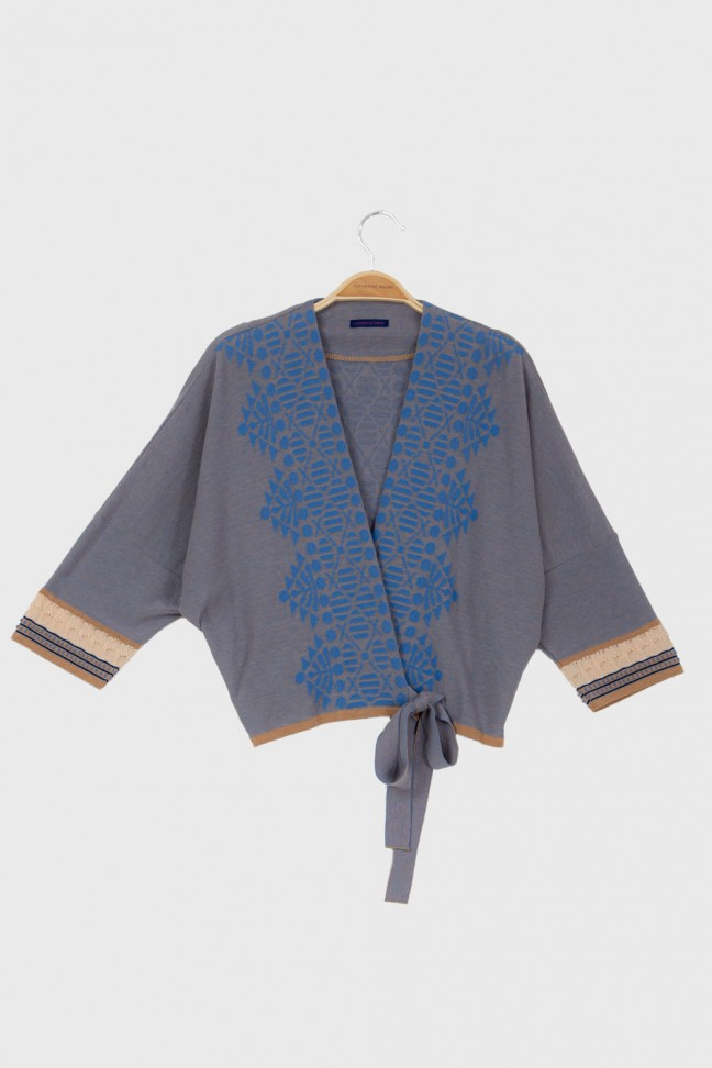 Wrap cardigan MAHJONG Blue