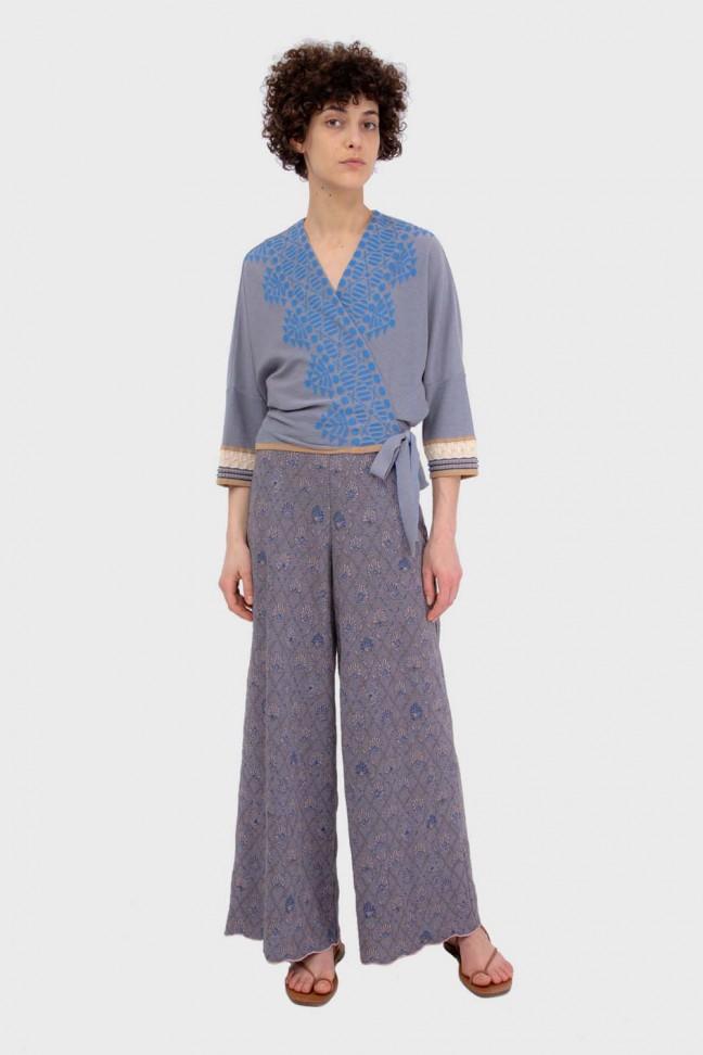 Wrap cardigan MAHJONG Blue