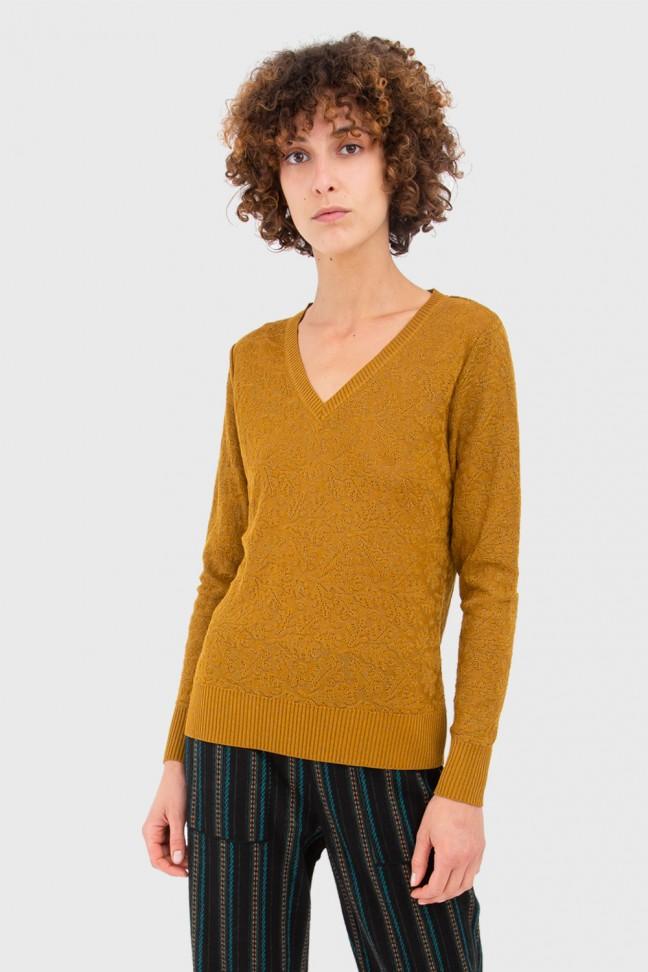V Neck Sweater GLAZE Gold
