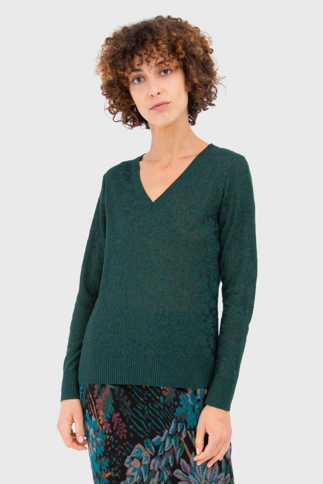 V Neck Sweater GLAZE Petrol