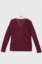 V Neck Sweater GLAZE burgundy